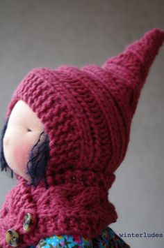 "pdf pattern: pixie hat ""michelle mabel"" for 15-17"" waldorf doll"