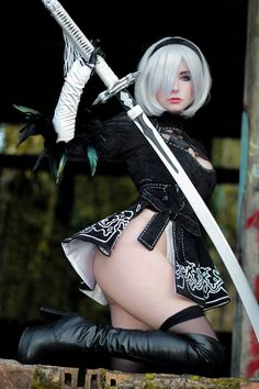 2B from Nier Automata by Giu Hellsing @ facebook.com/GiuHellsing - More at https://pinterest.com/supergirlsart #giuhellsing #hot #sexy #cosplay #girl #cosplaygirl #nierautomata