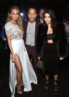 Chrissy Teigen, John Legend and Kim KardashianWest