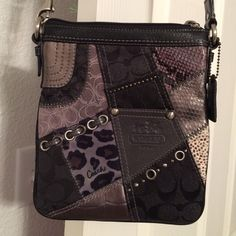 Coach Patchwork Side Purse This side purse is black/grey, long strap & inside is purple. Excellent condition. Coach Bags Shoulder Bags