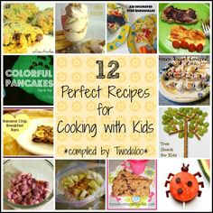 12 recipes for cooking with kids from Twodaloo- post also has tips and tricks for building language with cooking activities!