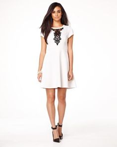 RW&co Short sleeve fit and flare dress with lace