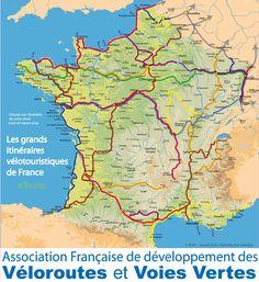 Carte voies vertes et véloroutes de France