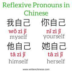 Reflexive Pronouns in Chinese The post You & Me. This & That: Pronouns in Chinese appeared first on Instanaliz . Basic Chinese, How To Speak Chinese, Learn Chinese, Chinese Food, Mandarin Lessons, Learn Mandarin, Chinese Flashcards, Chinese Alphabet, Spanish Alphabet