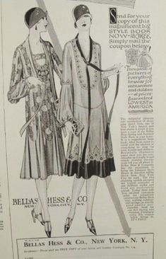 Fashion illustration of beautiful dresses from 1926 Bellas Hess catalogue. #20sFashion #flappers #1920sDresses