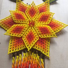 Divine yellow TONANZI beaded necklace handmade por ArtesaniaHUICHOL