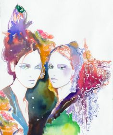 cate parr watercolor painting of women #hippy #bohemian #themodcabin