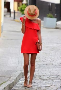 Lovely Red Dress With Suitable Hat
