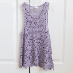 Urban Outfitters Lavender Crochet Tank Super cute top from Urban Outfitters (Pins and Needles)! a very pretty lavender color which is perfect for the summer! it is see through so it looks great over a swimsuit! has scalloped hem. size xs Urban Outfitters Tops Tank Tops