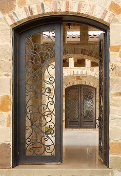 23 ideas rustic front door ideas entrance wrought iron for 2019 Iron Front Door, Front Door Entrance, Entrance Gates, Entry Doors, Grand Entrance, Front Door Design, Gate Design, Mediterranean Doors, Wrought Iron Doors