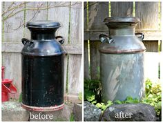 If I am ever lucky enough to get an old milk can I want to make it distressed like this one from The North End Loft