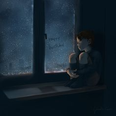 Tomorrow is his birthday, so I thought, 'Why not? Let's doodle and fotografie Aesthetic Art, Aesthetic Anime, Alone Art, Fanart Bts, Sad Art, Sad Anime, Anime Scenery, Anime Art Girl, Cute Wallpapers