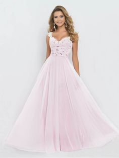 APPLIQUED SWEETHEART STRAPS A-LINE BEADED SCOOP BACK CHIFFON FLOOR-LENGTH PROM DRESSES
