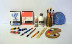 Miniature Assortment of Art Supplies 1 inch by MarquisMiniatures, $25.00
