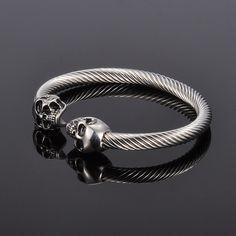 Silver Skull Stainless Steel Unisex Bracelet //Price: $14.89 & FREE Shipping //     #skull #skullinspiration #skullobsession #skulls