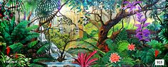 Jungle Paradise is a stunning theatrical backdrop with lush, dark green foliage, deep purple and red flowers and a vibrant, colorful parrot. Tropical Art, Tropical Birds, Tropical Plants, American Heritage School, Royal Family Kids Camp, Lion King Jr, Jungle Scene, Colorful Parrots, Cat Art