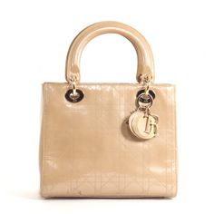 Christian Dior Beige Rare Patent Lambskin Leather Lady Dior Cannage Bag