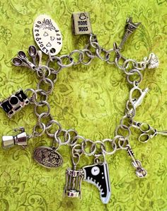 Custom Charm bracelet Antique Silver large links by Jewelsies, Rachel Coleman, Custom Charms, Music Notes, Hand Stamped, Antique Silver, Dawn, Birthday Gifts, How To Find Out, My Etsy Shop