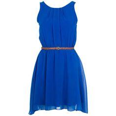 Cobalt Pleat Detail Chiffon Dress ($24) ❤ liked on Polyvore