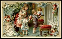 Suchard - Children & Kitchen Scenes #3 | by cigcardpix Vintage Greeting Cards, Vintage Christmas Cards, Vintage Holiday, Christmas Art, Vintage Postcards, Vintage Images, Suchard Chocolate, Chocolate Card, Vintage Cupcake