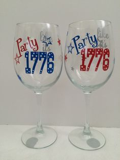 4th of July wine glass- Party Like It's 1776 wine glass by sewnbyamanda on Etsy