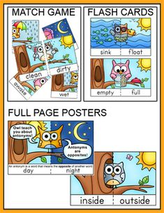 Antonyms game tiles posters and flash cards owl theme owl antonyms game tiles posters and flash cards owl theme m4hsunfo