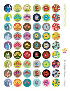 "Modern Danish Style Flowers 1"" circles Digital Image Collage Sheet for Bottle Caps, Buttons, Pins, Pendants INSTANT DOWNLOAD"