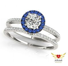 2.08 CT Round Cut Diamond & Sapphire In 4 Prongs Bridal Ring Set In 925 Silver #Affoin8