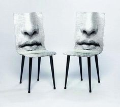 Pair of Fornasetti 'Mouth' chairs, lacquered and screen printed