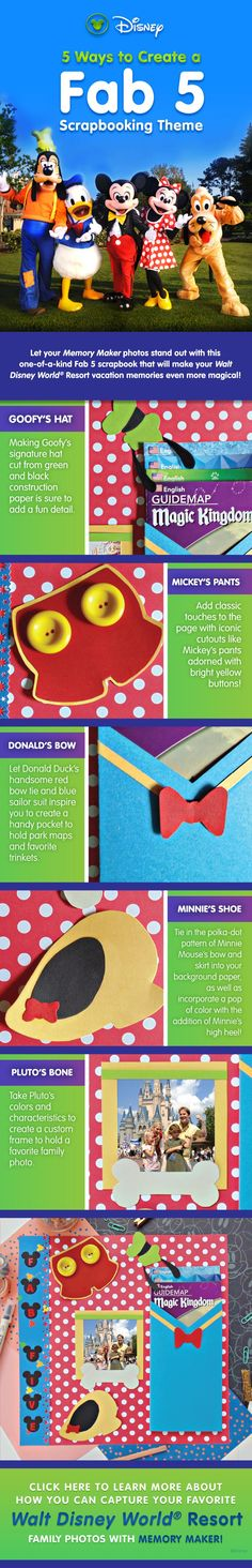 5 Ways to Create a Fab 5 Scapbooking Theme for your Walt Disney World vacation photos! Featuring Mickey Mouse, Donald Duck, Goofy, Minnie, Pluto | Disney Scrapbooking | Disney Scrapbook Elements |