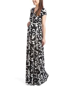 Love this Black & White Maternity/Nursing Surplice Maxi Dress by GLAM on #zulily! #zulilyfinds