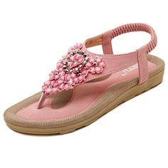 292ad914d1ba9a D2C Beauty Womens Bohemian Flower Rhinestone Thong Flat Sandals Pink 95 M  US    . Beaded SandalsSummer ...