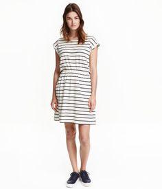 Kortermet trikotkjole   Hvit/Stripet   Ladies   H&M NO