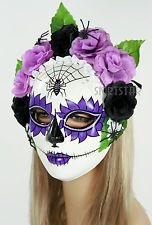 Dia de los Muertos Full Sugar Skull Mask Halloween Costume Spider Purple Flower