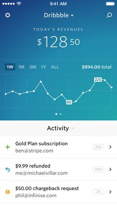 Dashboard for iPhone by Benjamin De Cock for Stripe