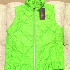 Women's Ralph Lauren Polo vest Polo down vest in neon green with bright silver zipper and details. NWT Polo by Ralph Lauren Jackets & Coats Vests