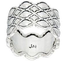 JAI Sterling Silver Taj Texture Band Ring
