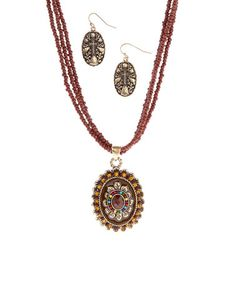 Look what I found on #zulily! Brown Bead Pendant Necklace & Earrings Set by Ethel & Myrtle #zulilyfinds