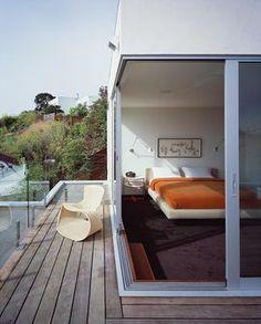 寝室,テラス,小さな,雰囲気