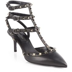 Valentino Noir Rockstud Leather Pumps ($1,095) ❤ liked on Polyvore featuring shoes, pumps, women's shoes - valentino, leather shoes, leather pointy toe pumps, pointy-toe pumps, genuine leather shoes and sexy shoes