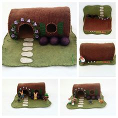 Hollow Log Cottage with Purple Trumpet Flowers Playscape Felt Play Mat Pretend Storytelling Make Believe Dollhouse Toy Child Fairy House by MyBigWorld2015 on Etsy