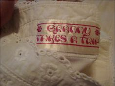 Label of 1960s blouse from 'Granny Takes a Trip' boutique, London