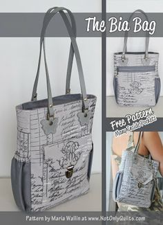 Not Only Quilts: The Bia Bag - Free PDF Pattern! | good tutorial on a unique handle idea