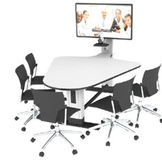 Huddle table. Meeting room table with adjoining mast for flat screen or interactive display