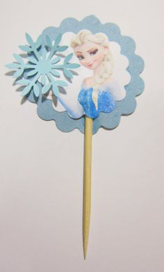 6 Frozen cupcake picks with cute snowflake by Partycraftsupplies, $4.99