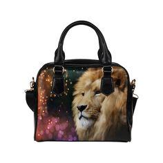 Black and Red Elegant Flourished Hearts Shoulder Handbag (Model Male Lion, Christmas Gifts, Christmas Tree, Holiday, Shoulder Handbags, Elegant, Digital, Model, Red