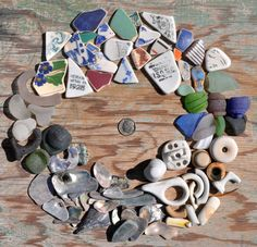 Unique Collection of GENUINE Sea Glass Ceramic and Abalone - Colorful Pottery Bottle Necks Kick-Ups and more on Etsy, $44.00