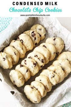 These condensed milk chocolate chip cookies taste like a shortbread cookie cross . - These condensed milk chocolate chip cookies taste like a shortbread biscuit cross … - Cookie Desserts, Dessert Recipes, Cokies Recipes, Baking Desserts, Snack Recipes, Condensed Milk Cookies, Recipes With Condensed Milk, Desserts With Condensed Milk, Donuts