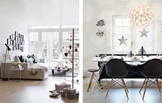 Beautiful Christmas decorated house from Denmark, complete with David Trubridge Coral light!