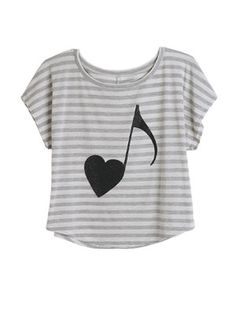 Music Note Love Tee ...I would so wear this half shirt =) It is so cute!!!!!!!!!